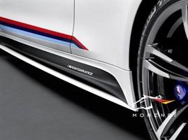 Накладки на пороги, черный матовый M Performance для BMW M4 F82.